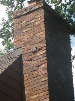 Here is a view of the Riverside Chimney before the work